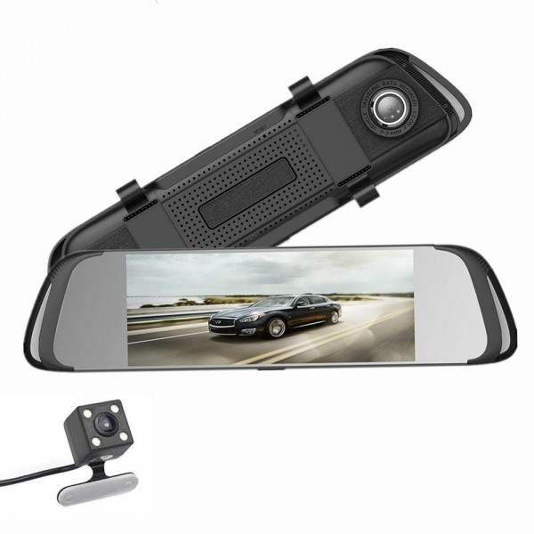 Camera auto oglinda DVR Visoli™ RoadBuddy H17, 7 inch, Full HD 30fps, unghi 170 grade, senzor G, camera marsarier
