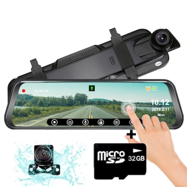 Camera auto dubla oglinda DVR VISOLI™ RoadBuddy H19, 10 inch touch, camera marsarier, Full HD 30fps, unghi de filmare 170 grade