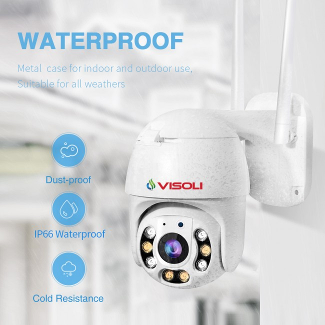 Camera de supraveghere WIFI Visoli® QW25, 2MP 1080p, de exterior, Full HD, Lentila de 4mm, rotire din aplicatie, rezistenta la apa