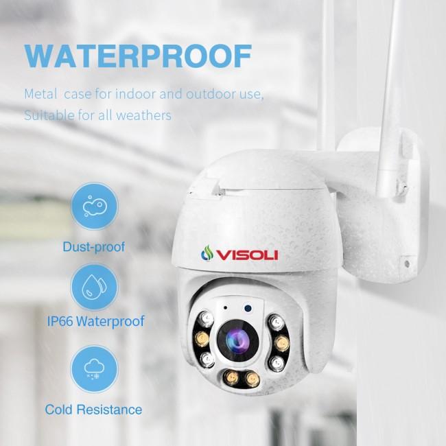 Camera de supraveghere WIFI Visoli® QW25-5, 5MP Lentile Sony, de exterior, Full HD, rotire din aplicatie, rezistenta la apa