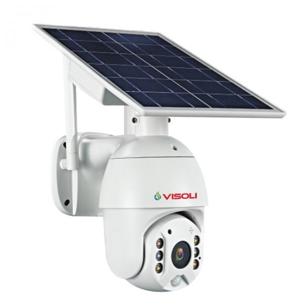 Camera de supraveghere WIFI Visoli® VS-S10, 2MP 1080p, de exterior, Full HD, Panou solar, Rotire din aplicatie, rezistenta la apa