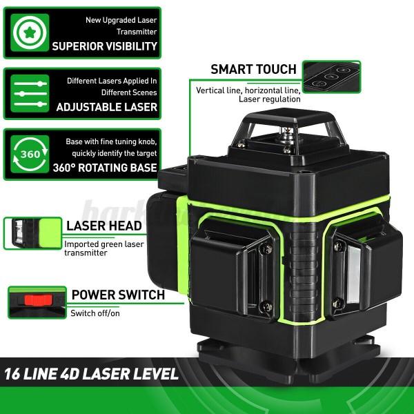 Nivela laser 4D Visoli, 16 linii, Lumina verde, Negru/Alb